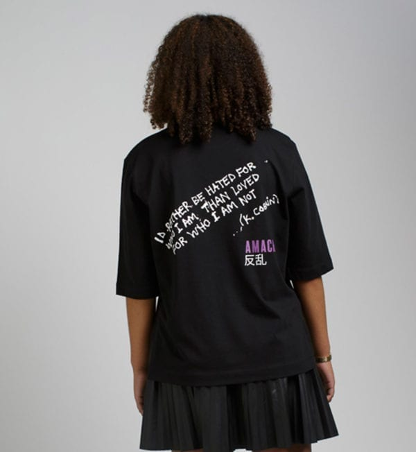 AMACH 09 'Be Yourself' ladies relaxed fit tee - Black-BACK VIEW